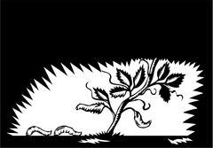 Vine Leaves Morphing Maggots Woodcut Stock Illustration
