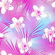 Tropical frangipani hibiscus with pink palms seamless pattern Stock Illustration