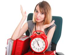 Woman work stoppage Overworked businesswoman plenty of documents isolated Stock Photos