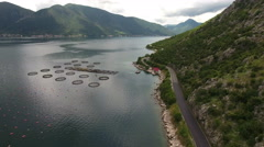 Flying along coastal road to Perast with fish farm in water. Montenegro Stock Footage