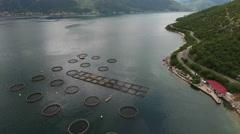 Kotor bay (Boka Kotorska) with coastal road and fish farm. Perast, Montenegro Stock Footage