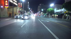 4K Driving Plates Hollywood Blvd Night Rear View 01 East bound at Cherokee Av Stock Footage