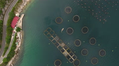 4K aerial of sea fish farm in Kotor bay, Montenegrin aquaculture, Montenegro Stock Footage