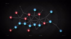 People Network Map Black Stock Footage