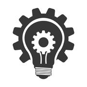 Light bulb with gear icon. Energy design. Vector graphic - stock illustration