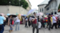Blurred motion of people and group tour walking go to Wat Phra Kaew Stock Footage