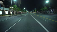 4K Driving Plates LA Downtown Grand Ave Night 01 Rear View South bound at 1st Stock Footage