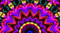Tribal neon kaleidoscope visual Stock Footage