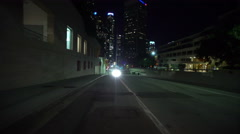 4K Driving Plates LA Downtown Grand Ave Night 03 Rear View at 1st St East bou Stock Footage