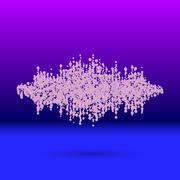 Sound waveform made of scattered balls - stock illustration