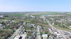 360 degree panning aerial shot of New Liskeard Canadas - Temiskaming Shores Stock Footage