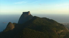 Aerial view of Pedra de Gavea Mountain and Barra Da Tijuca, Rio de Janeiro - stock footage