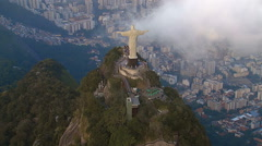 High angle Aerial View of Christ the Redeemer Statue, Rio de Janeiro Stock Footage
