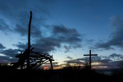 Shelter and Cross Dawn - stock photo