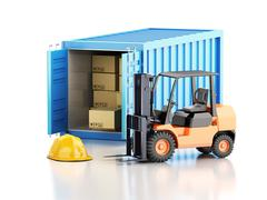 3d Cargo container with forklift and carboard boxes. - stock illustration