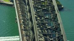 Aerial view of people on Sydney Harbor Bridge climb Australia Stock Footage