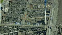 Aerial view of people on Sydney Harbor Bridge climb Australia Stock Footage