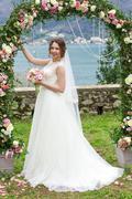 Attractive bride in wedding day Stock Photos