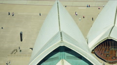 Aerial view of Sydney Opera House and tourists Australia Stock Footage