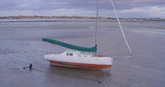 Aerial of yatch moored on its side in Auckland, New Zealand Stock Footage