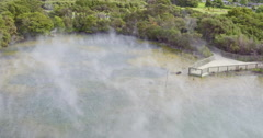 Aerial of Rotorua geothermal hot pools, New Zealand Stock Footage