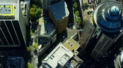 Aerial city Skyscraper vertical view of Sydney Australia Stock Footage