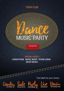 Dance Music Party flyer or banner with denim background. Vector template with Stock Illustration