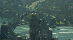 Aerial view of Sydney Harbor Bridge and Highway Australia Stock Footage