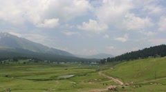 Beautiful view of Gulmarg valley, Jammu & Kashmir.  Stock Footage