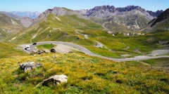 Mountain road, Col du Galibier, France Stock Footage