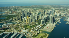 Aerial view of Circular Quay and Darling Harbour Sydney Australia - stock footage