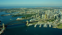 Aerial view of Sydney Harbour Bridge and Opera House Australia Stock Footage