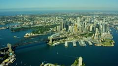 Aerial view of Sydney Harbor Bridge and Darling Harbour Australia Stock Footage