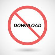 Isolated forbidden signal with    the text DOWNLOAD Stock Illustration