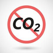 Isolated forbidden signal with    the text CO2 Stock Illustration