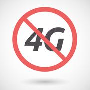 Isolated forbidden signal with    the text 4G Stock Illustration