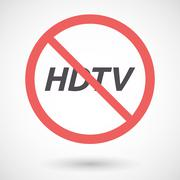 Isolated forbidden signal with    the text HDTV Stock Illustration