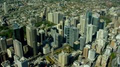 Aerial view of modern skyscraper buildings in Sydney Australia Stock Footage