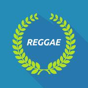 Long shadow laurel wreath with    the text REGGAE - stock illustration