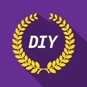 Long shadow laurel wreath with    the text DIY Stock Illustration