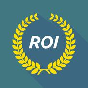 Long shadow laurel wreath with    the return of investment acronym ROI Stock Illustration