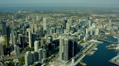 Aerial view of city buildings and Darling Harbour Sydney Australia - stock footage