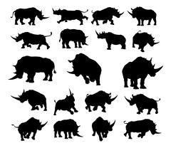 Rhino Animal Silhouettes - stock illustration