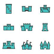 Trendy flat line icon pack for designers and developers. Vector line castle i Stock Illustration