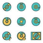 Trendy flat line icon pack for designers and developers. Vector line cd icon  Stock Illustration
