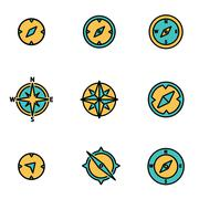 Trendy flat line icon pack for designers and developers. Vector line compass  - stock illustration