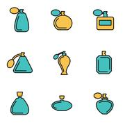 Trendy flat line icon pack for designers and developers. Vector line perfume  Stock Illustration