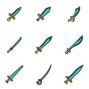 Trendy flat line icon pack for designers and developers. Vector line sword ic Piirros
