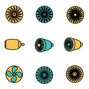 Trendy flat line icon pack for designers and developers. Vector line turbines Stock Illustration