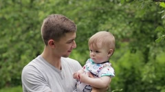 Young dad with his son portrayed each other mood icons. Stock Footage